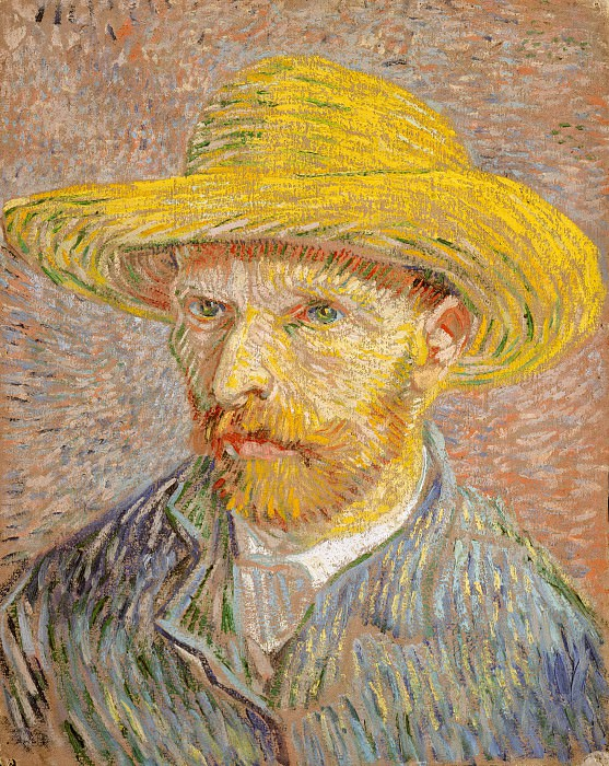 Self-Portrait with Straw Hat. Vincent van Gogh
