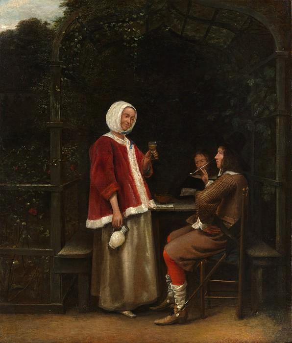 Pieter de Hooch - A Woman and Two Men in an Arbor. Metropolitan Museum: part 4