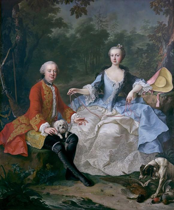 Мартин ван Мейтенс Младший - Граф Джакомо Дураццо (1717-1794) в костюме охотника с женой (Эрнестина фон Алоизия Унгнад Вайзенвольф, 1732-1794). Музей Метрополитен: часть 4