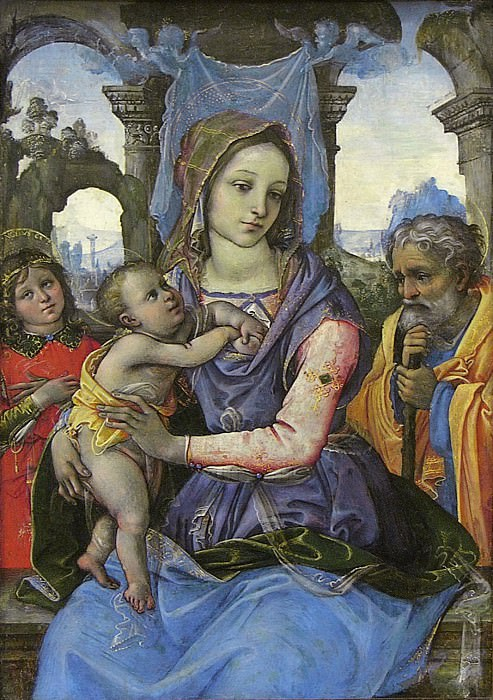Raffaellino del Garbo (Italian, Florence 1466?–1524 Florence) - Madonna and Child with Saint Joseph and an Angel. Metropolitan Museum: part 4