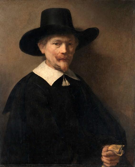 Portrait of a Man Holding Gloves (attr). Rembrandt Harmenszoon Van Rijn