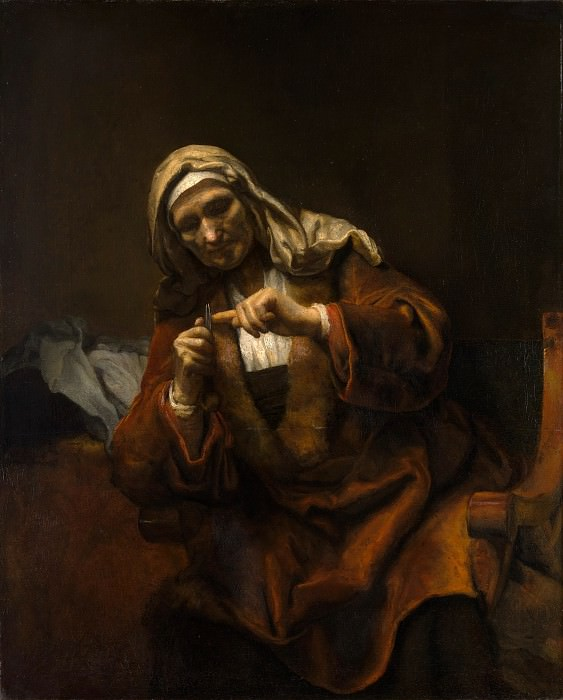 Style of Rembrandt - Old Woman Cutting Her Nails. Metropolitan Museum: part 4