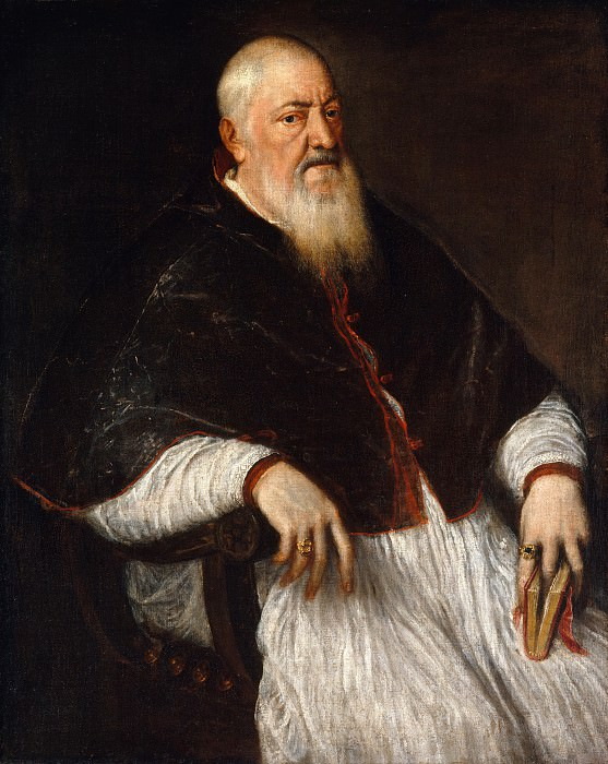 Titian (Italian, Pieve di Cadore ca. 1485/90?–1576 Venice) - Filippo Archinto (born about 1500, died 1558), Archbishop of Milan. Metropolitan Museum: part 4