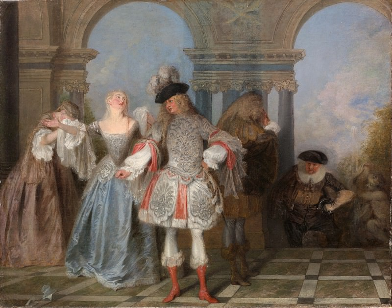 Antoine Watteau - The French Comedians. Metropolitan Museum: part 4