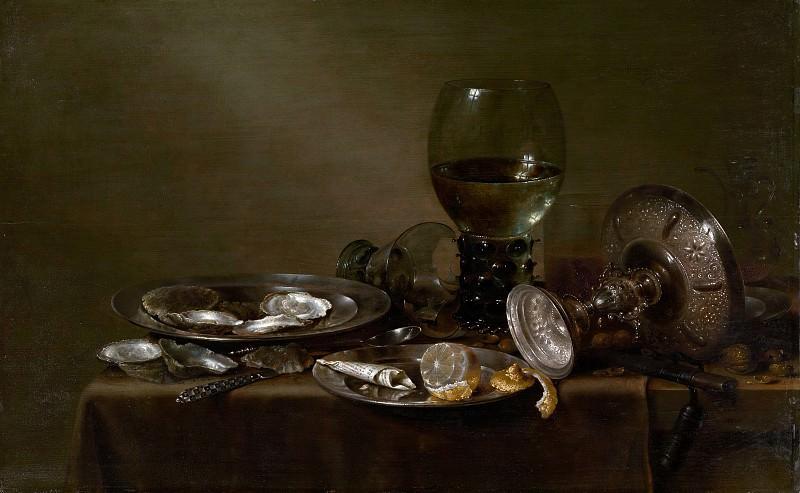 Хеда, Виллем Клас - Натюрморт с устрицами, серебряной вазой и стеклянной посудой. Музей Метрополитен: часть 4