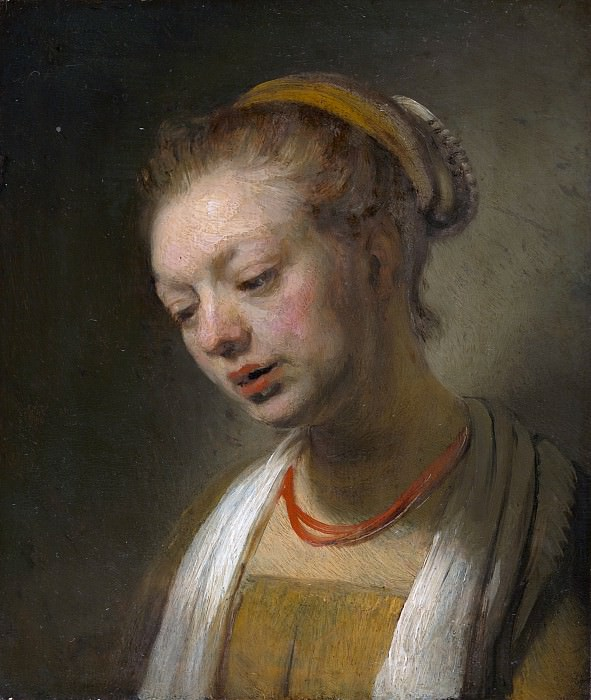 Young Woman with a Red Necklace (after). Rembrandt Harmenszoon Van Rijn
