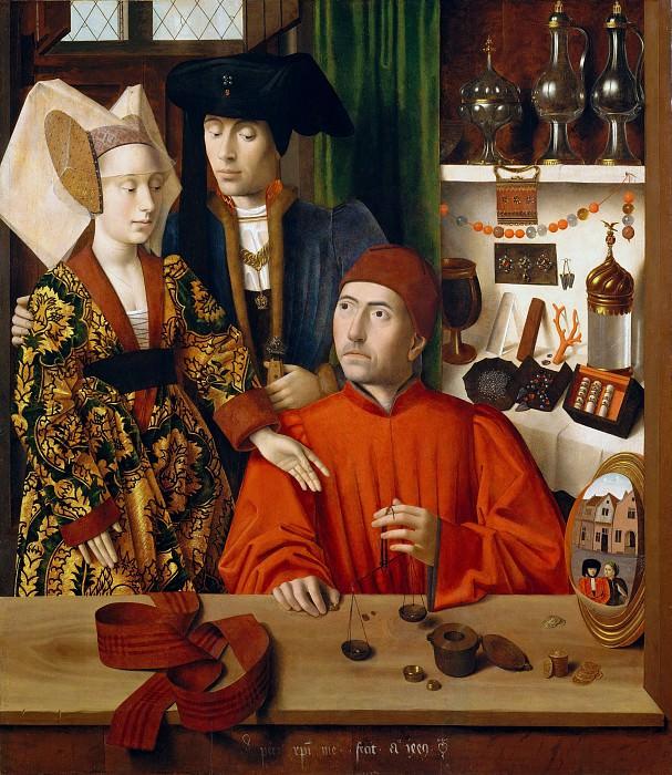 Petrus Christus - A Goldsmith in His Shop, Possibly Saint Eligius. Metropolitan Museum: part 4
