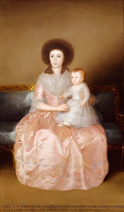 Goya (Spanish, Fuendetodos 1746–1828 Bordeaux) - Condesa de Altamira and Her Daughter, María Agustina. Metropolitan Museum: part 4