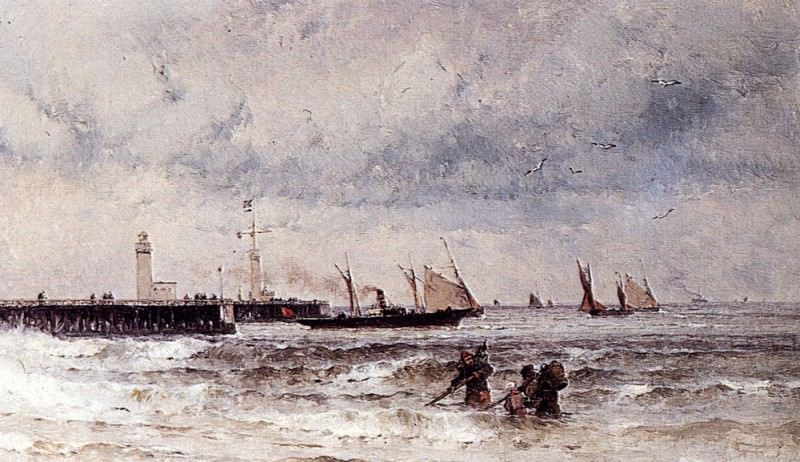 Weber Theodore Shipping Near A Harbour Entrance. German artists