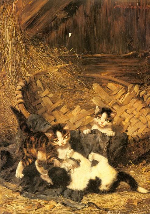 Adam Julius - Playful Kittens In A basket. German artists