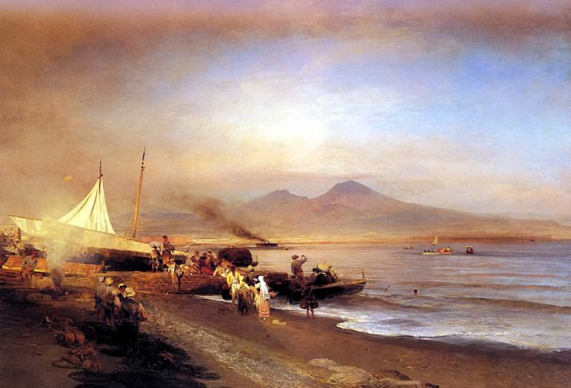 Achenbach Oswald The Bay Of Naples. German artists