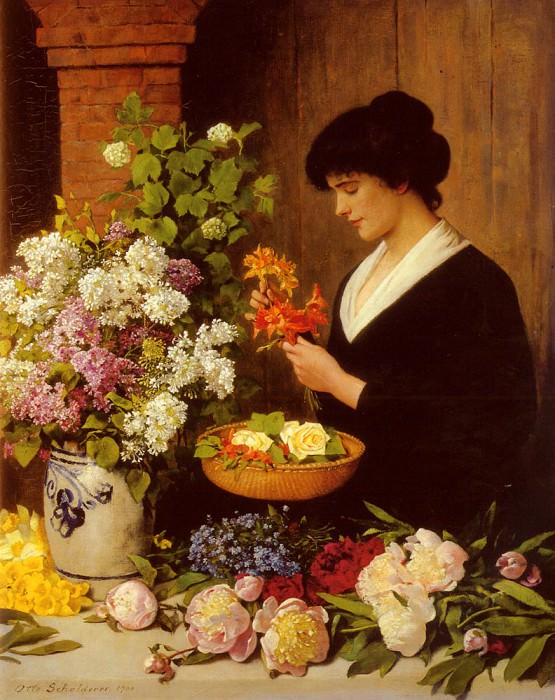 Scholderer Otto The Flower Arrangement. German artists