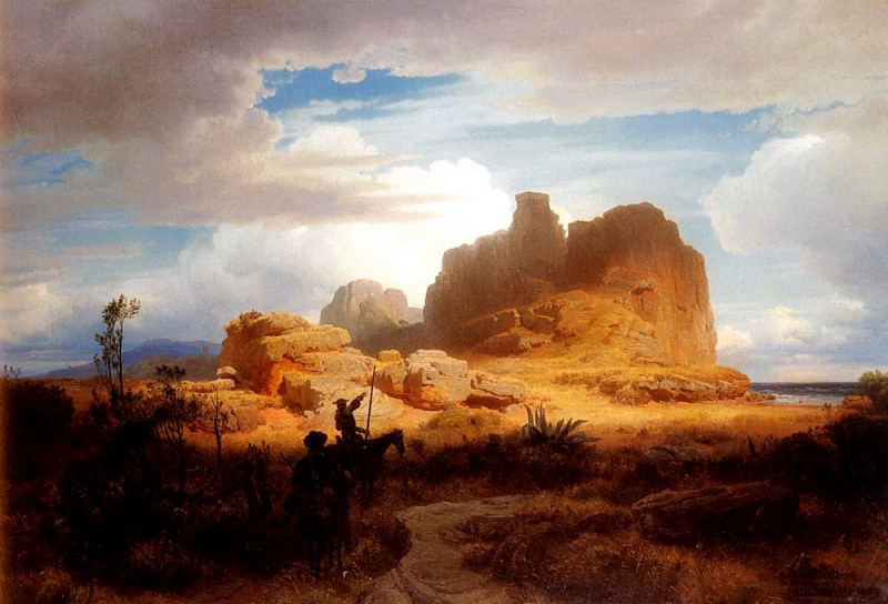 Achenbach Oswald Don Quixote and Sancho Panza. German artists