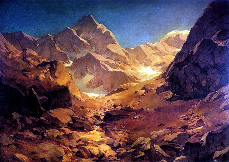 Achenbach Oswald A Mountainous Landscape. German artists