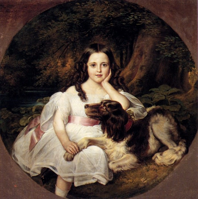 Kaulbach Friedrich August Von A Young Girl Resting In A Landscape With Her Dog. German artists