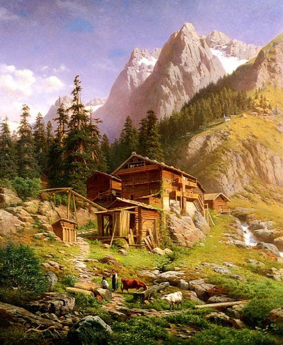 Engelhardt Georg An Alpine Mill House. German artists