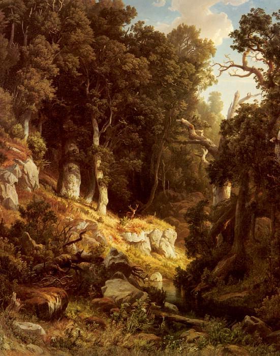 Kessler August A Deer In A Woodland Clearing. German artists
