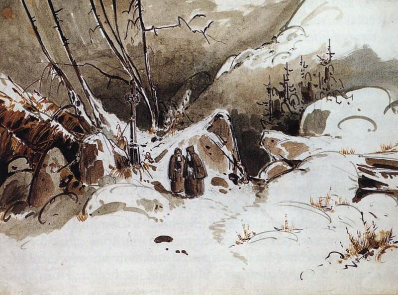 BLECHEN Karl Alpine Pass In Winter With Monks. German artists