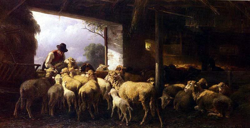 Mali Christian Friedrich Feeding The Sheep. German artists