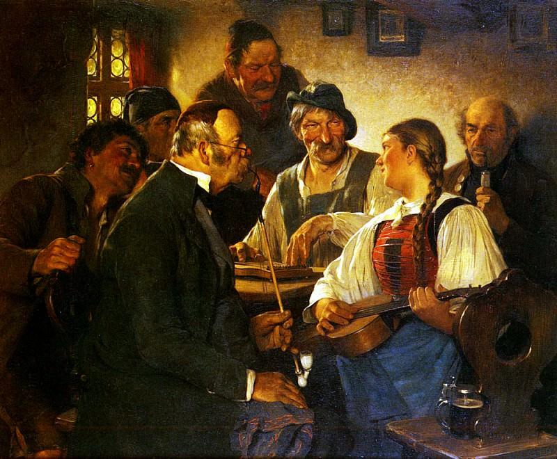 Kauffman Hugo Wilhelm The Zither Player. German artists
