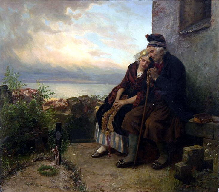 Hubner Carl Mourning Their Loss. German artists