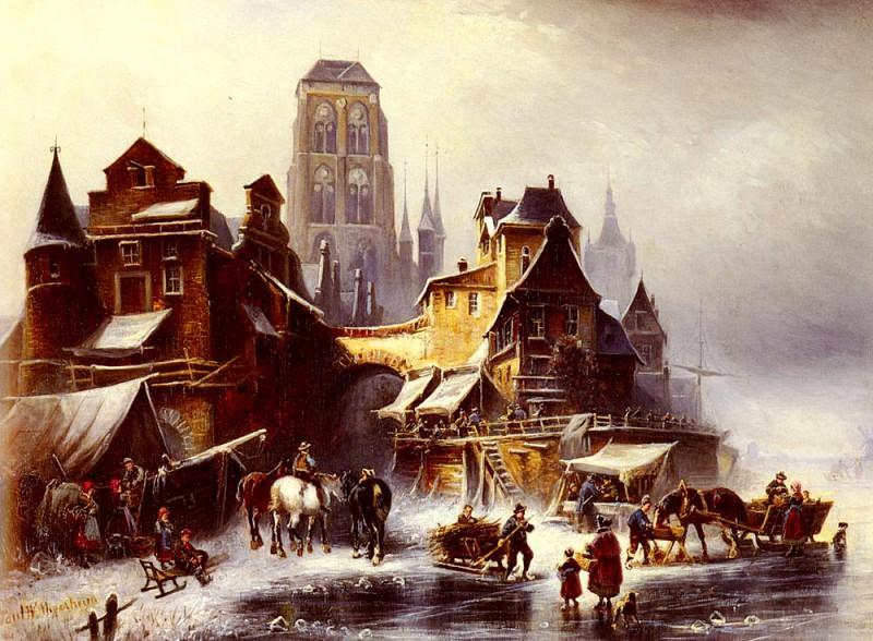 Meyerheim Paul Wilhelm A View Of Danzig In Winter. German artists
