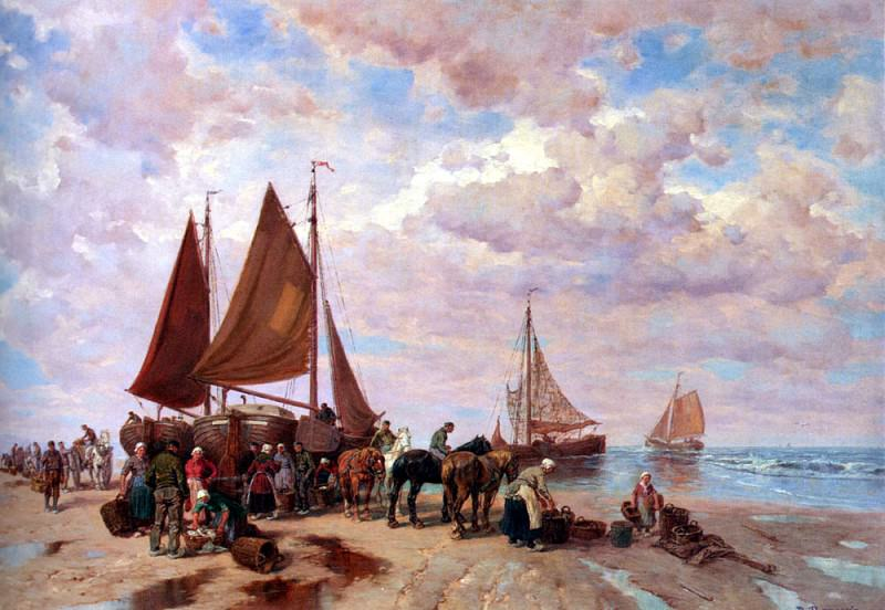 Thomassin Desire A Coastal Scene With Fisherfolk Sorting The Day s catch Beached. German artists