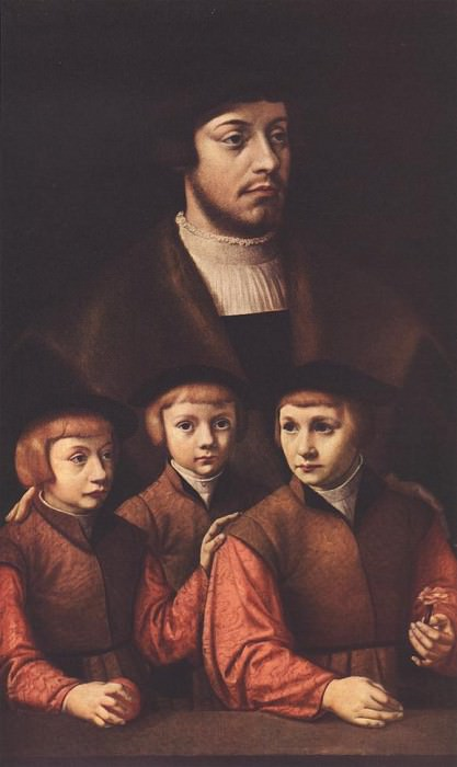 BRUYN Barthel Portrait Of A Man With Three Sons. German artists
