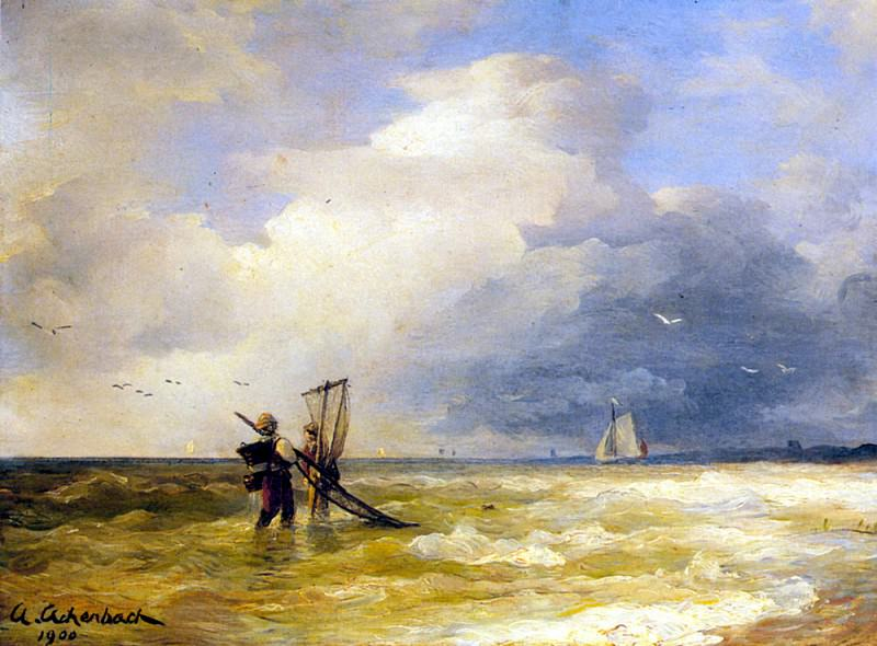 Achebach Andreas Fishing Along The Shore. German artists