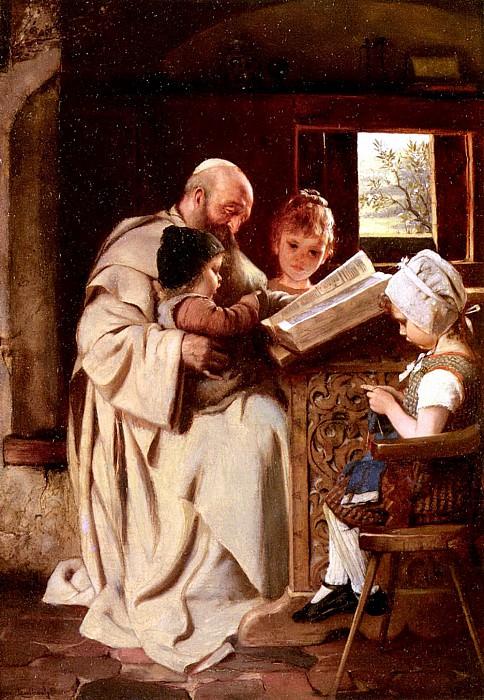 Kaulbach Hermann Reading The Bible. German artists