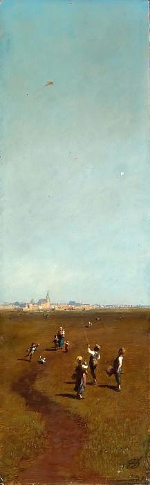 Carl Spitzweg (1808 - 1885) - Flying Kites. Alte und Neue Nationalgalerie (Berlin)