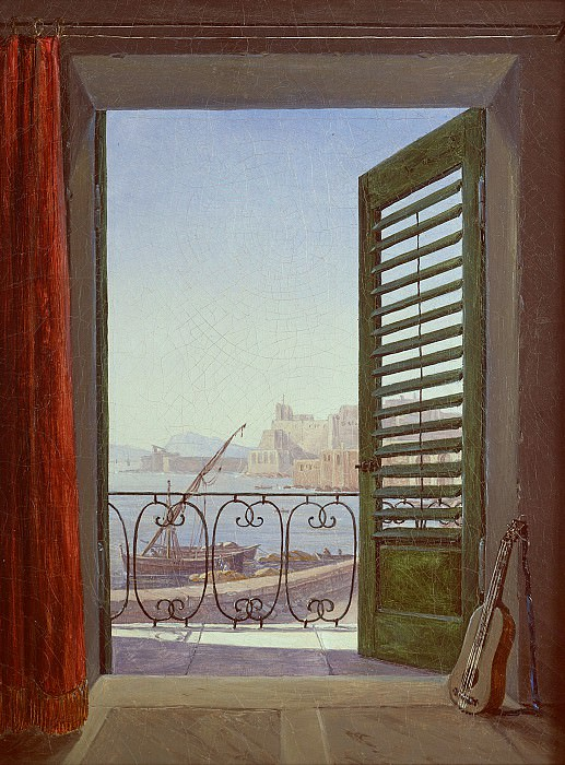 Carl Gustav Carus (1789 - 1869) - Balcony Room with a View of the Bay of Naples. Alte und Neue Nationalgalerie (Berlin)