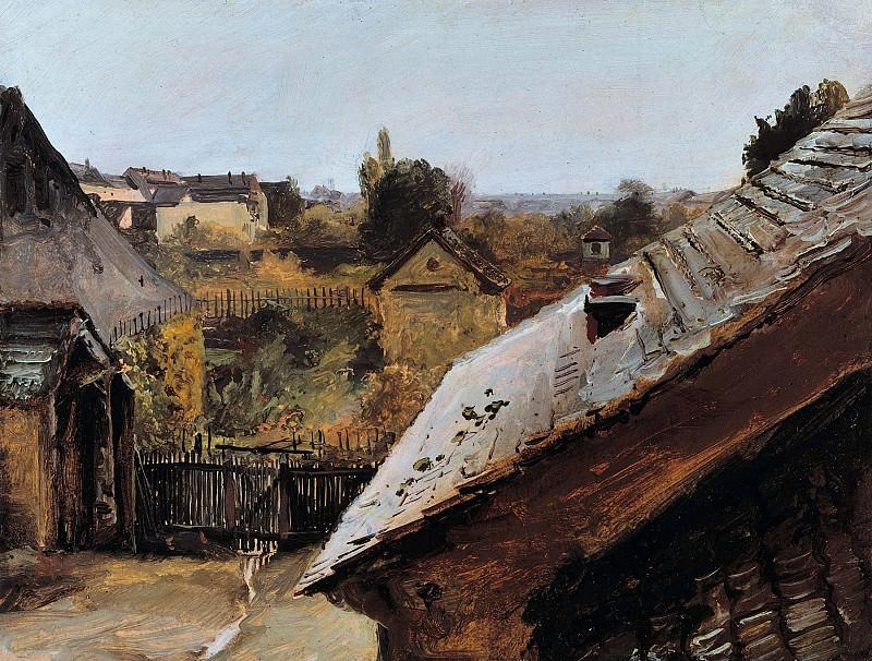 Блехен, Карл (1798-1840) - Вид на крыши и сады. Старая и Новая Национальные Галереи (Берлин)