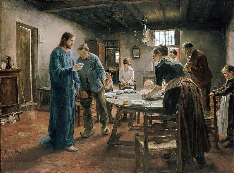 Уде, Фриц фон (1848 - 1911) - Молитва перед обедом. Старая и Новая Национальные Галереи (Берлин)