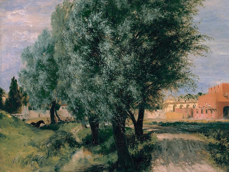 Менцель, Адольф фон (1815-1905) - Ивы на фоне строящегося здания. Старая и Новая Национальные Галереи (Берлин)
