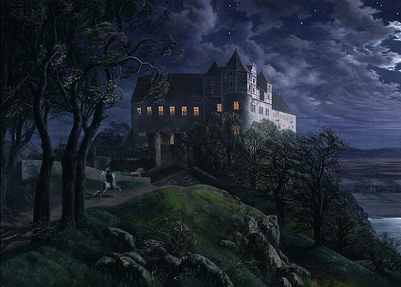 Ernst Ferdinand Oehme (1797 - 1855) - Burg Scharfenberg at Night. Alte und Neue Nationalgalerie (Berlin)