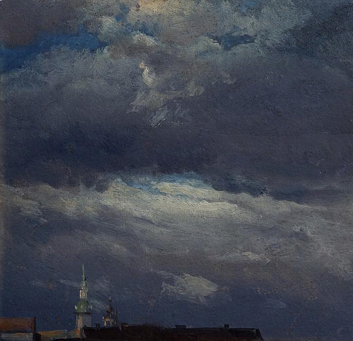 Johan Christian Clausen Dahl (1788 - 1857) - Stormclouds over the Castle Tower in Dresden. Alte und Neue Nationalgalerie (Berlin)