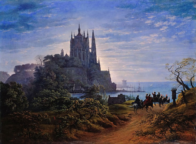Karl Friedrich Schinkel (1781 - 1841) - Gothic Church on a Rock by the Sea. Alte und Neue Nationalgalerie (Berlin)
