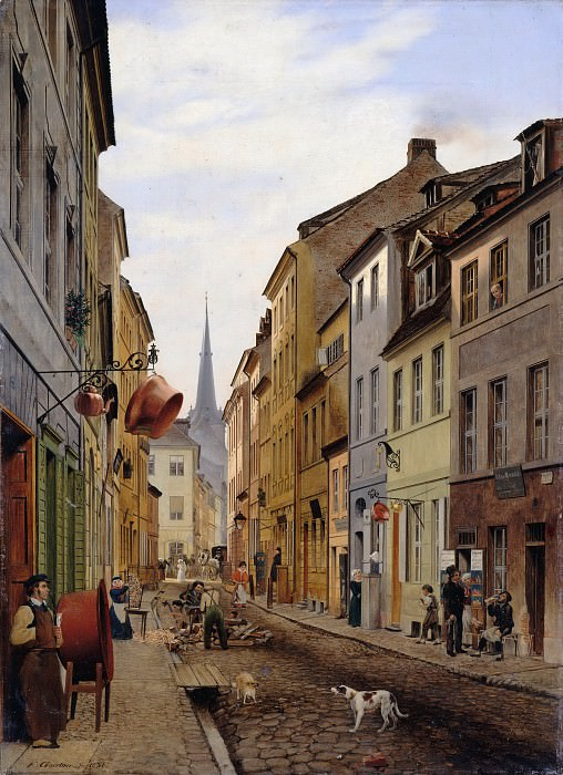 Гертнер, Эдуард (1801 - 1877) - Приходская улица в Берлине. Старая и Новая Национальные Галереи (Берлин)