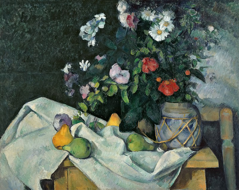 Paul Cezanne (1839-1906) - Still Life with Flowers and Fruit. Alte und Neue Nationalgalerie (Berlin)