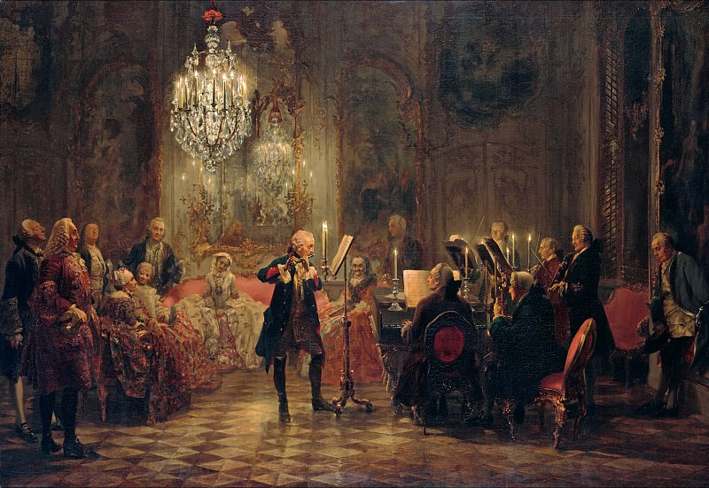 Adolph von Menzel (1815-1905) - Flute Concert with Frederick the Great in Sanssouci. Alte und Neue Nationalgalerie (Berlin)