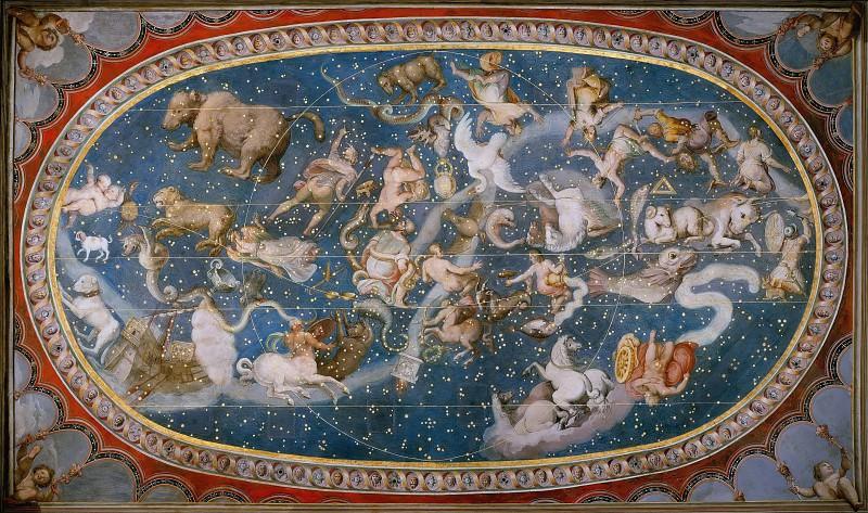 Anonymous Italian Artist - Ceiling of the Sala Bologna with Zodiac. Musei Vaticani - fresco