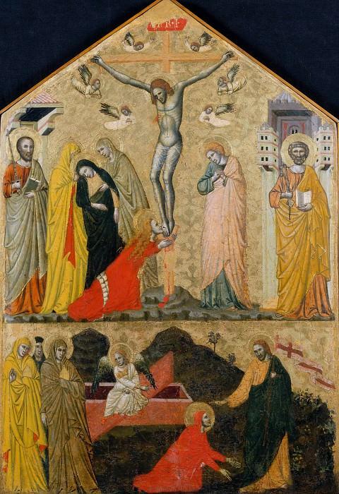 School of Rimini - Crucifixion between Saints Peter and Paul and Noli me Tangere. Musei Vaticani