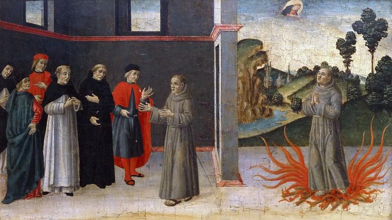 Анонимный художник из Лукки - Францисканский монах, отстаивающий доктрину о Непорочном зачатии, подвергаясь испытанию огнем. Музеи Ватикана