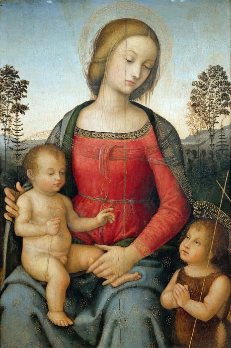 Umbrian Painter - Madonna and Child and the Infant Saint John the Baptist. Musei Vaticani