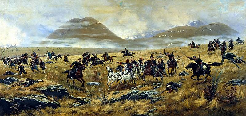 Нижегородские драгуны, преследующие турок по дороге к Карсу во время Аладжинского сражения 3 октября 1877 года. Alexey Kivshenko