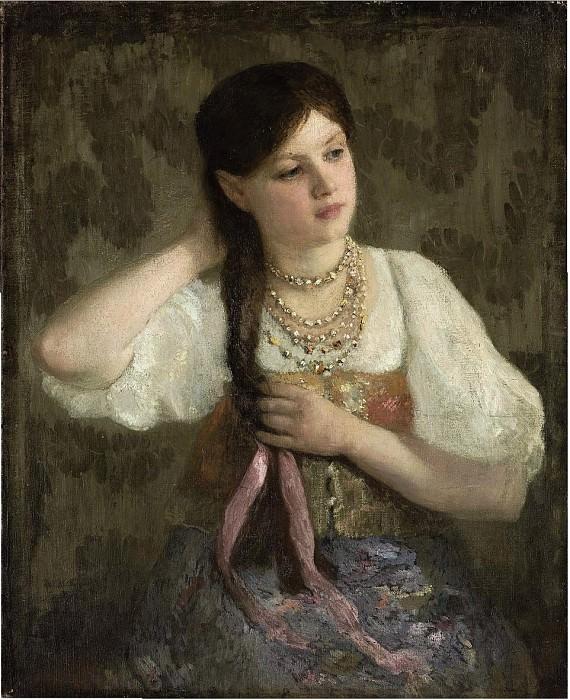 Портрет молодой девушки с розовой лентой. Alexey Kivshenko