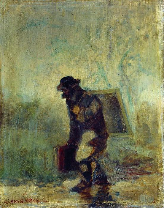 Художник под дождем. 1870–1880. Леонид Иванович Соломаткин