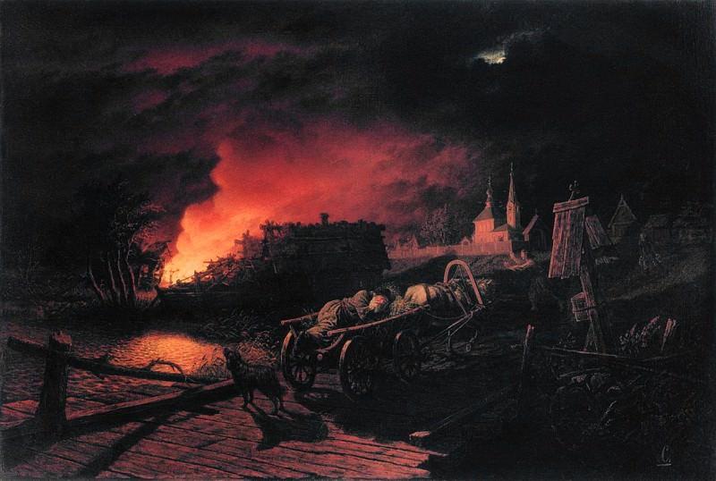 Пожар ночью в селе. Leonid Solomatkin