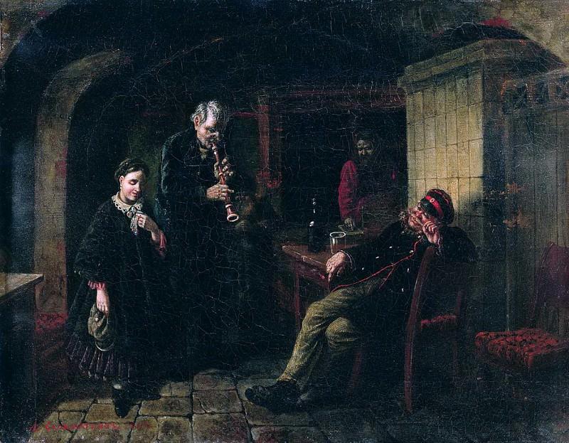 В погребке. 1864. Леонид Иванович Соломаткин